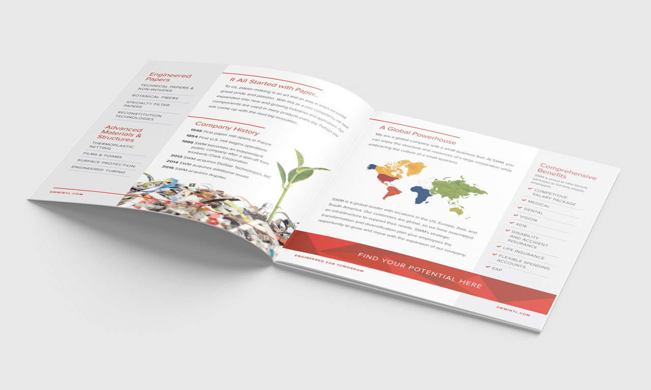 SWM Employee Recruitment Collateral: 8-page saddle stitched square brochure